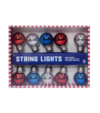 Americana Patriotic 10ct Metallic Globe String Lights