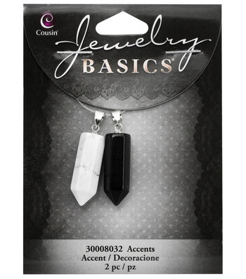Cousin® Jewelry Basics 2 Pack Smooth Faceted Pencils-Black & White