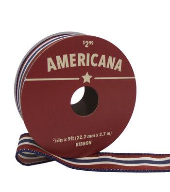 """Americana Ribbon 7/8""""x9'-Navy, Red & White Stripes"""