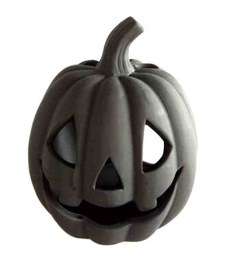 Maker's Halloween Small Stoneware Tealight Holder Pumpkin-Black