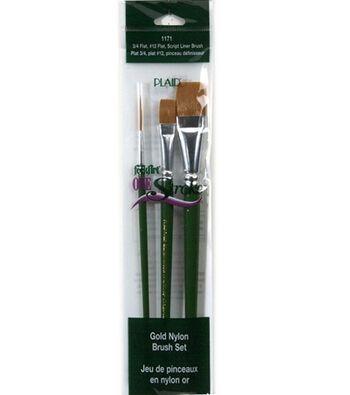 FolkArt  One Stroke 3 pk Gold Nylon Brushes
