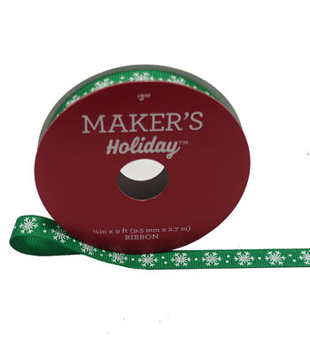 Maker's Holiday Christmas Grosgrain Ribbon 3/8''X9'-Snowflakes on Green