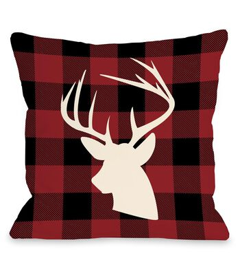 Maker's Holiday Christmas Pillow-Stag on Plaid Background