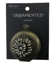 hildie & jo™ Ornamented Flower on Circle Antique Gold Pendant, , hi-res