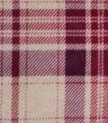 Luxe Fleece Fabric 59\u0022-Oatmeal & Burgundy Plaid
