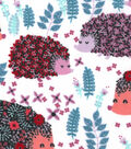 Snuggle Flannel Fabric 42\u0022-Floral Pattered Hedgehogs