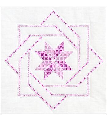"Stamped White Quilt Blocks 18""X18"" 6/Pkg-Woven Star"