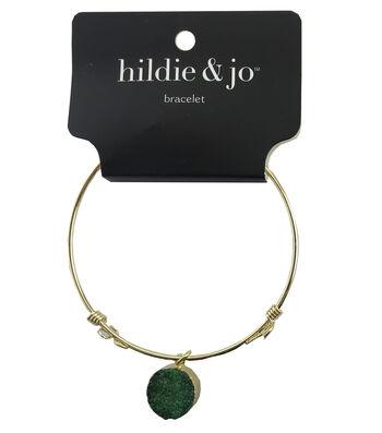 hildie & jo 7'' Gold Bangle Bracelet-Green Druzy Dangle