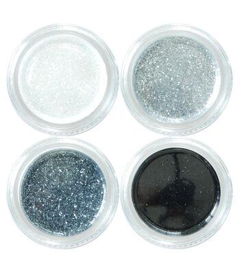 Maker's Halloween 4 Count Metallic Glitter Makeup Set-Black & Silver