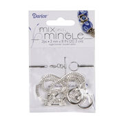 Mix and Mingle Silver Toggle Bracelets, 8 inches long, 2pc/pkg, , hi-res