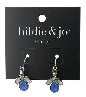 hildie & jo™ Silver Earrings-Bright Blue, Yellow & White Stones