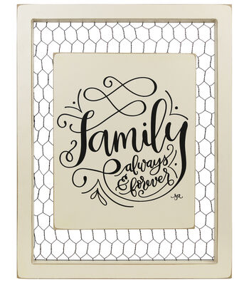 Hudson 43 Farm 11''x14'' Chicken Wire Wall Art-Family Always & Forever