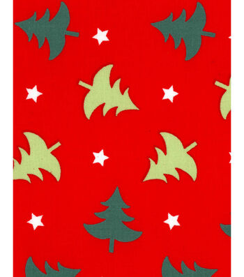 Holiday Showcase™ Christmas Cotton Fabric 43''-Christmas Trees & Stars on Red