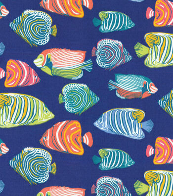 Outdoor Fabric-Fishtale Navy Blue