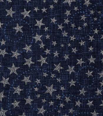 Patriotic Cotton Fabric 43''-Blue Glitter Stars & Swirls