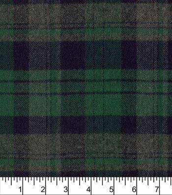 "Plaiditudes Brushed Cotton Fabric 44""-Heathered Grey Green"