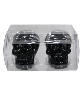 Maker's Halloween 2 Pack Skull Candles-Black