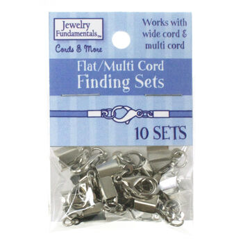 Jewelry Fundamentals Cords&More Flat/Multi Cords Finding Sets-WhiteNickel
