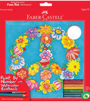 "Creativity For Kids Faber Castell Watercolor Paint By Number Kit 9""X9""Peace Sign, , hi-res"
