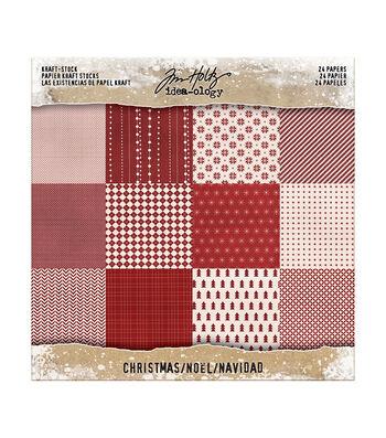 Tim Holtz Idea-ology Paperie Kraft Stock 24pk-Christmas