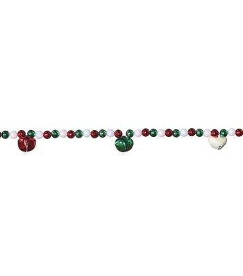 Maker's Holiday Christmas 20' Beads Garland with Jingle Bells