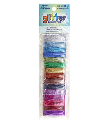 Glitter Sample Pack 2 Grams 16/Pkg-Assorted