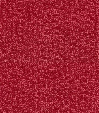 Patriotic Cotton Fabric 45''-Dotted Stars on Red