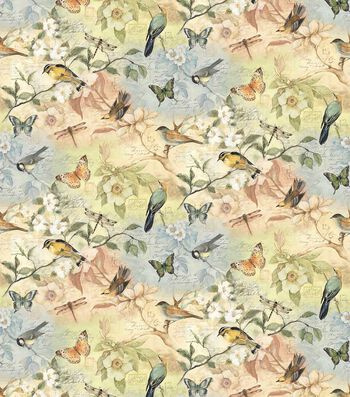 "Susan Winget Cotton Fabric 44""-Birds of a Feather"