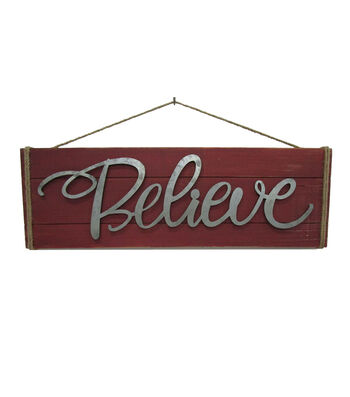Maker's Holiday Christmas Metal Sign-Believe