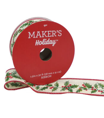 Maker's Holiday Christmas Ribbon 1.5''x30' -Holly & Berry on Beige