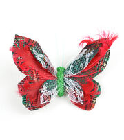 Blooming Holiday 4'' Plaid Butterfly-Green & Red, , hi-res