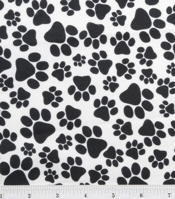 "3 Yard Pre-Cut Snuggle Flannel Fabric 42""-Paws Black"