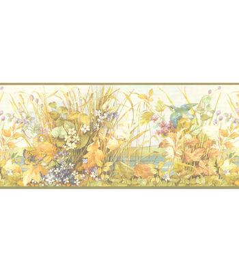 Scenic Pond Floral Wallpaper Border, Multicolor
