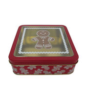 Maker's Holiday Small Square Clear Top Cookie Container-Gingerbread, , hi-res