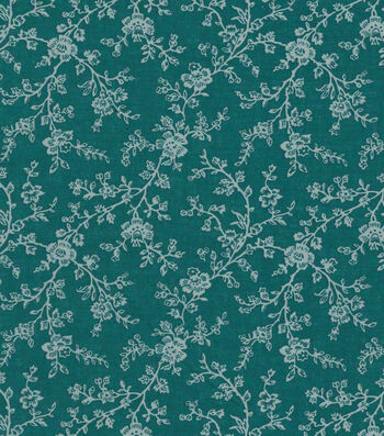 "Quilter's Showcase™ Cotton Fabric 44""-Deep Lake Gray Floral Vines"