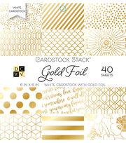 DCWV 40 Pack 6''x6'' White Cardstock Stack-Gold Foil, , hi-res