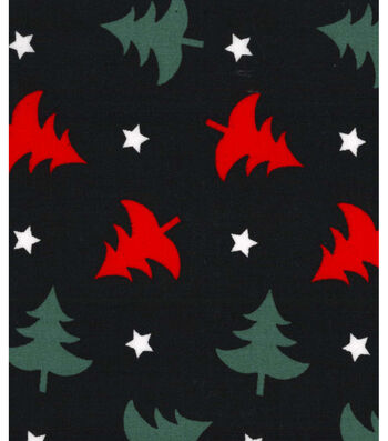 Holiday Showcase™ Christmas Cotton Fabric 43''-Christmas Trees & Stars on Black