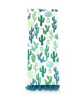 Cactus 16''x28'' French Terry Towel-Cactus Print