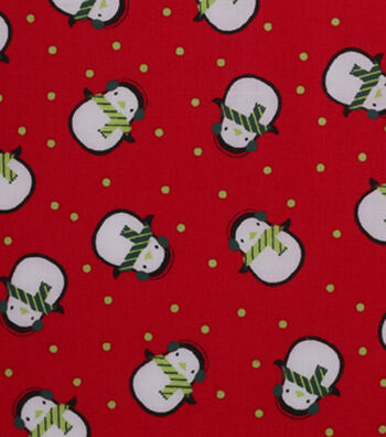 Holiday Showcase™ Christmas Cotton Fabric 43''-Cold Penguins on Red