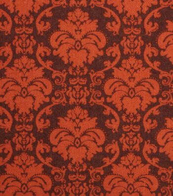 "Holiday Showcase™ Harvest Cotton Fabric 43""-Brown Damask"