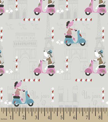 Amour Dog in Paris Print Fabric