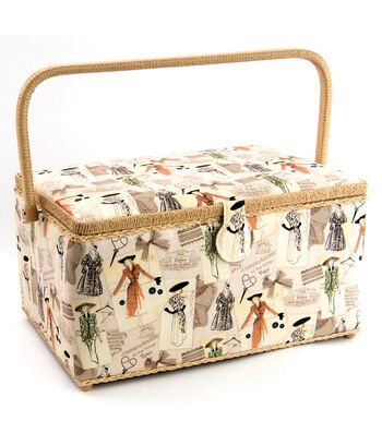 Extra Large Rectangle Sewing Basket-Vintage Sew Print