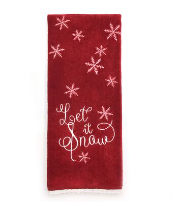 Maker's Holiday Christmas 16''x28'' Velour Terry Hand Towel-Let it Snow