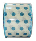 Decorative Ribbon 2.5\u0027\u0027 X 15\u0027-Blue Dot on Cream