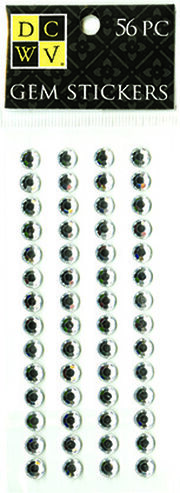 DCWV Clear Gem Stickers-Medium round assortment, , hi-res