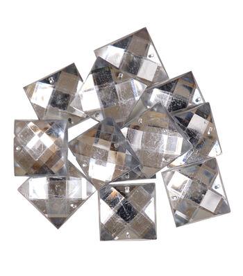 Favorite Findings Gems-Large Clear Squares 11/pkg