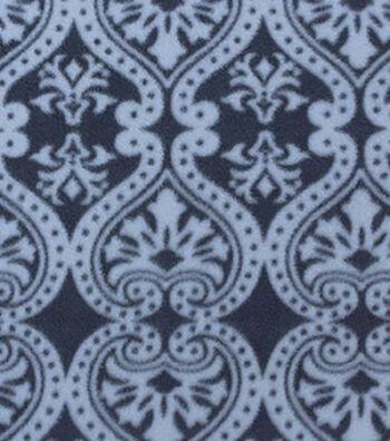 "3 Yard Pre-Cut Anti-Pill Fleece Fabric 59""-Black Damask"