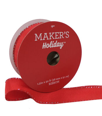 Maker's Holiday Christmas Ribbon 1.5''x30'-Red with Tinsel Edge
