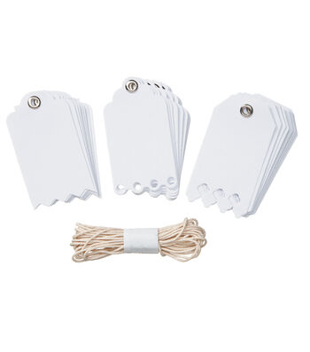 Core'dinations Tags:  White Deco Edge with String; 24 pack