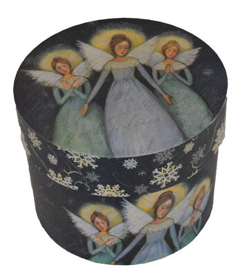 Maker's Holiday Large Round Box-Angel